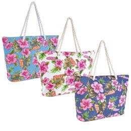BB0901A CANVAS HIBISCUS PRINT BAG WITH ROPE HANDLE