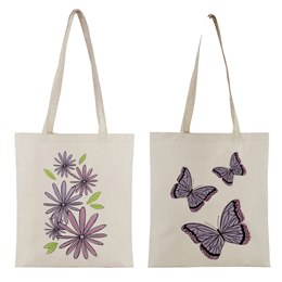 BB0921 PRINTED COTTON SHOPPER BAG BUTTERFLY AND FLORAL