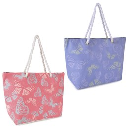 BB0974 BUTTERFLY PRINT POLY CANVAS BAG