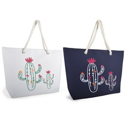 BB1008 CACTUS PRINT BAG WITH ROPE HANDLE