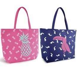 BB1017 CANVAS BAG WITH TOUCAN AND PINEAPPLE ALL OVER PRINT