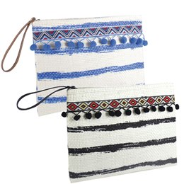 BB1018A PAPERSTRAW  STRIPED  POUCH WITH POM POM DETAILS