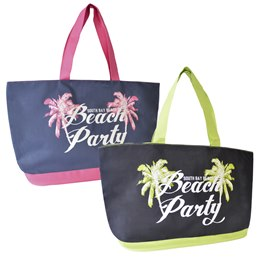 BB1025 600D BAG WITH SLOGAN PRINT'BEACH PARTY'