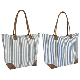 BB1046 COTTON CANVAS BAG WITH STRIPES PU HANDLES AND PU CORNERS