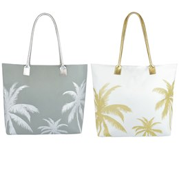BB1047 POLY CANVAS PALM TREE PRINT WITH PU HANDLES