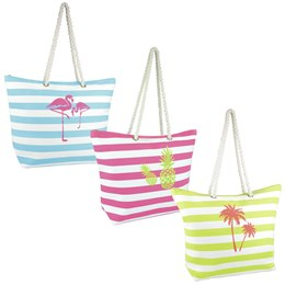 BB1052 CANVAS 3 DESIGN  PRINT ROPE HANDLE BAG