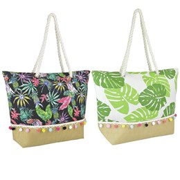 BB1056 CANVAS/PAPERSTRAW BAG IN 2 DESIGNS BIRDS AND LEAF PRINT