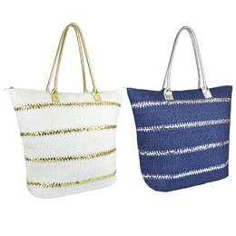 BB1057 PAPERSTRAW BAG WITH STRIPES
