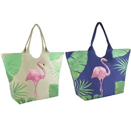 BB1065 12 OZ COTTON CANVAS FLAMINGO PRINT BAG