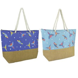 BB1071 POLY CANVAS/ P/STRAW  PARROT PRINT BAG WITH ROPE HANDLES