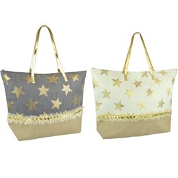 BB1072 PAPERSTRAW STAR PRINT BAG WITH FRINGE
