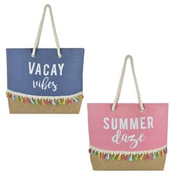BB1122 CANVAS BAG WITH SLOGAN PRINT AND MOCK CORK BASE