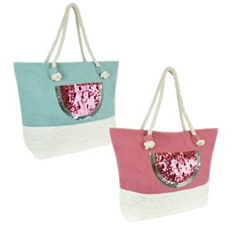 BB1124 CANVAS /PSTRAW PANEL SEQUIN  WATERMELON  BAG
