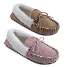 FT0720 LADIES FUR TRIM MOCCASIN SLIPPERS
