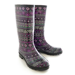 FT0921 LADIES AZTEC PRINT WELLINGTON