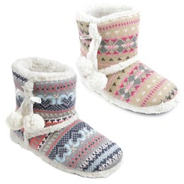 FT0937A FAIRISLE KNITTED BOOTEE SLIPPER