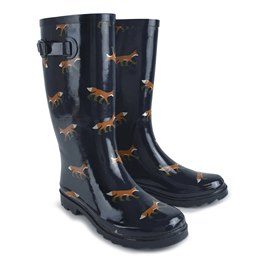 FT1011 LADIES FOX PRINT WELLINGTON BOOT
