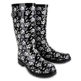 FT1013 LADIES BLACK/WHITE FLORAL WELLY