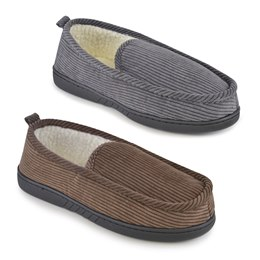 FT1218 MENS CORD FULL BACK SLIPPER WITH BORG LINING
