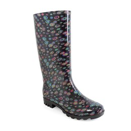 FT1260 LADIES CIRCLE PRINT PVC  WELLINGTON BOOT
