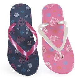 FT1286 GIRLS HEARTS AND SPOT PRINT FLIP FLOP