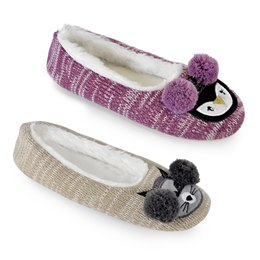 FT1299 KNITTED RACCOON AND OWL BALLET SLIPPER