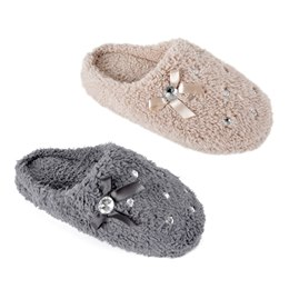 FT1315 LADIES PLUSH MULE WITH DIAMANTE DETAIL