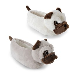 FT1332 GIRLS PUG HEAD SLIPPER
