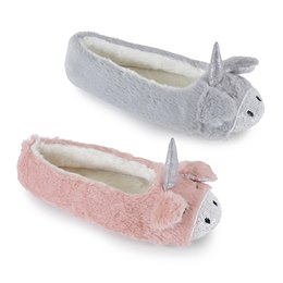 Ladies Diamond Jersey Marl Ballet Slippers with Bow