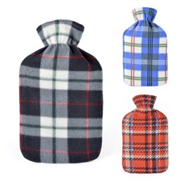 HH0211A 2 LITRE CHECK FLEECE HOT WATER BOTTLE