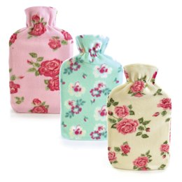 HH0213A 2 LITRE PRETTY FLOWER FLEECE HOTWATER BOTTLE