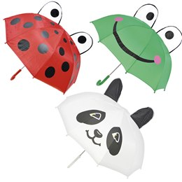 UU0256 LADYBIRD  FROG  PANDA 3D KIDS DOME UMBRELLA